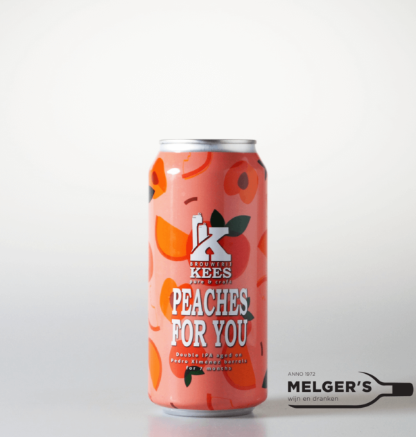brouwerij kees peaches for you double ipa india pale ale aged on pedro ximenez barrels blik 44cl